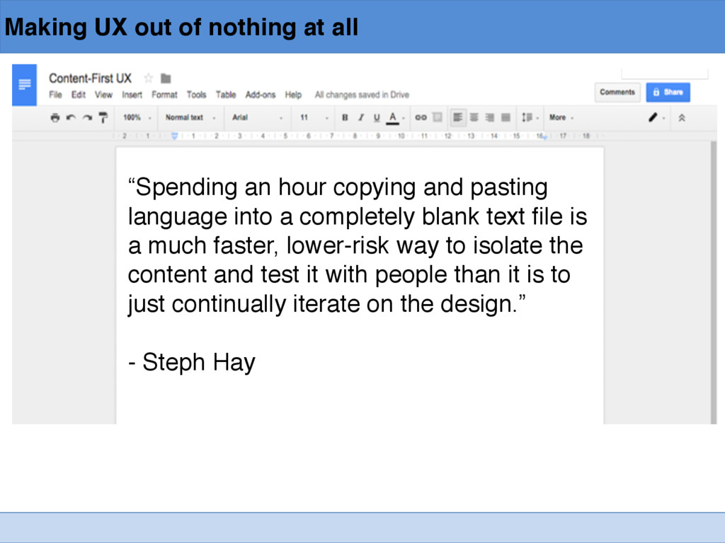 """Making UX out of nothing at all """"Spending an ho..."""