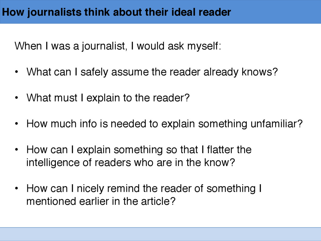 How journalists think about their ideal reader ...
