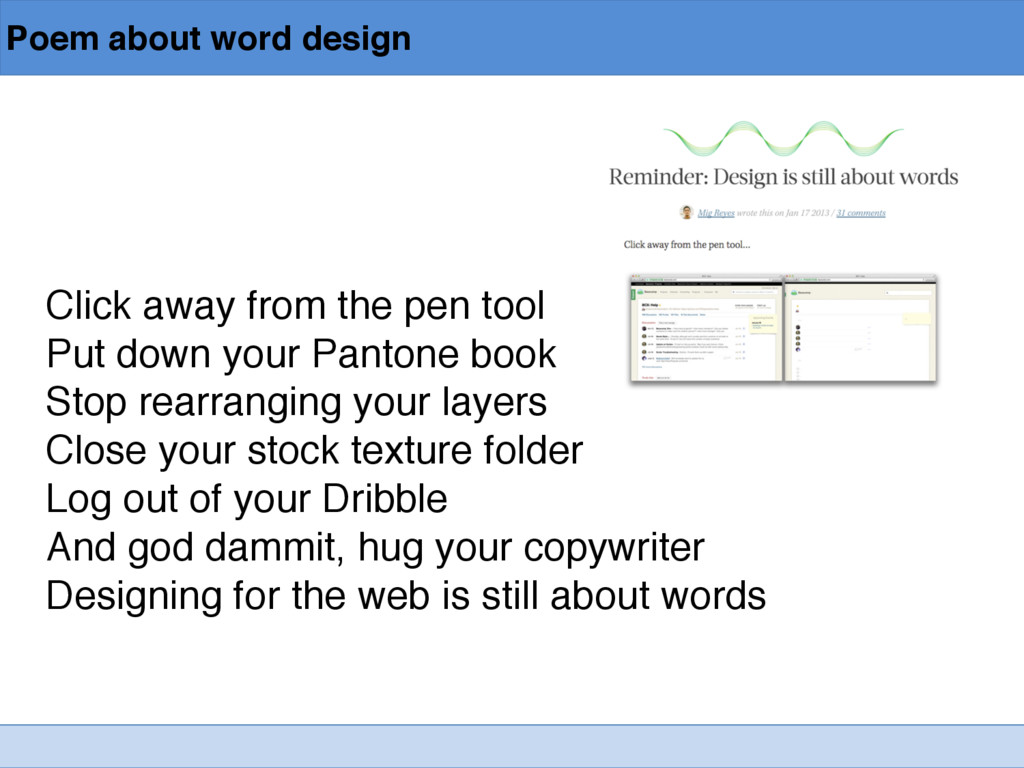 Poem about word design Click away from the pen ...