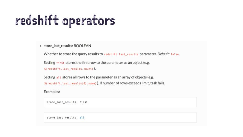 redshift operators