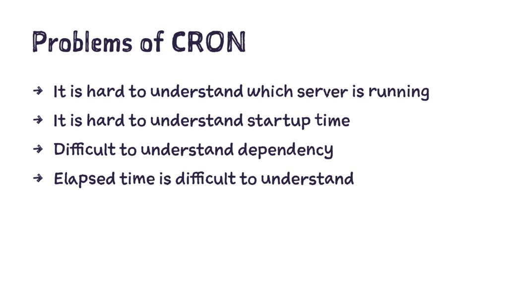 Problems of CRON 4 It is hard to understand whi...