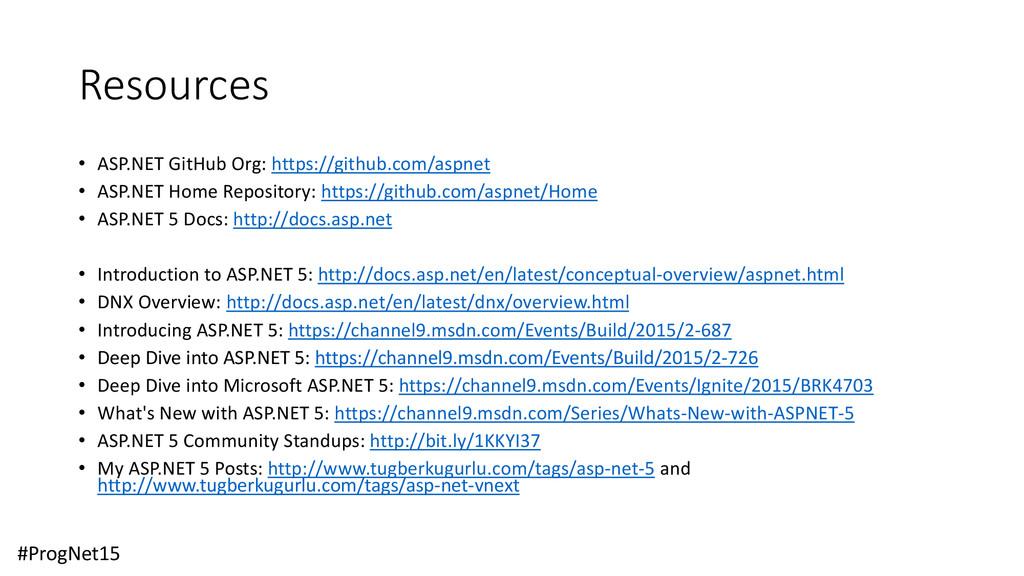 Resources • ASP.NET GitHub Org: https://github....