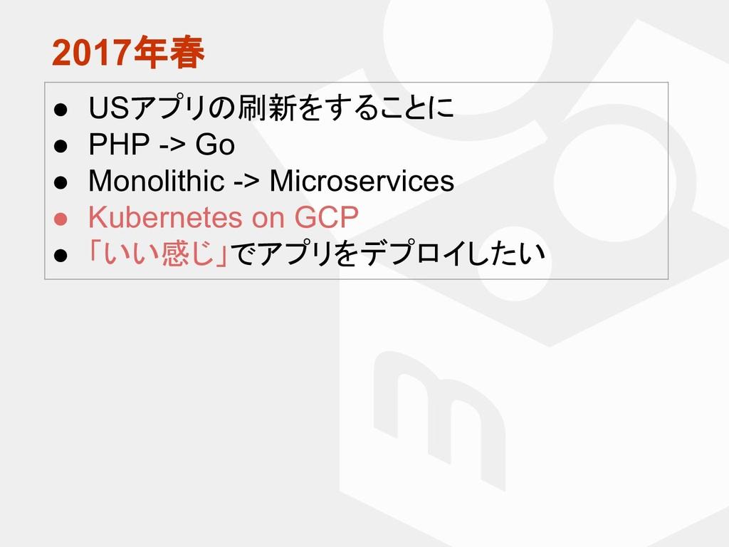 2017年春 ● USアプリの刷新をすることに ● PHP -> Go ● Monolithi...