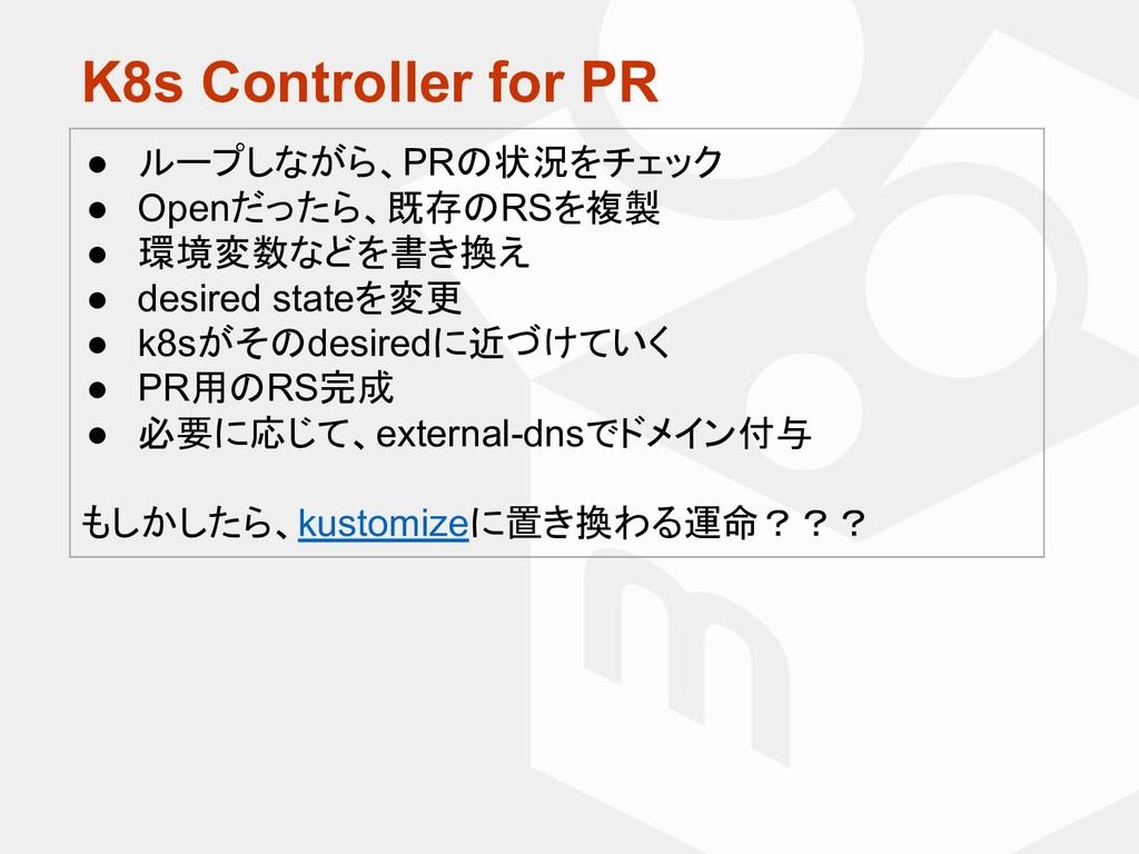 K8s Controller for PR ● ループしながら、PRの状況をチェック ● Op...