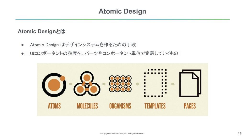 18 Atomic Design ● Atomic Design はデザインシステムを作るため...