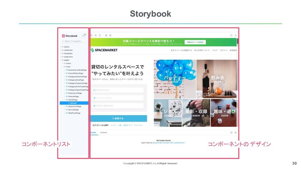 30 Storybook コンポーネントリスト コンポーネントのデザイン