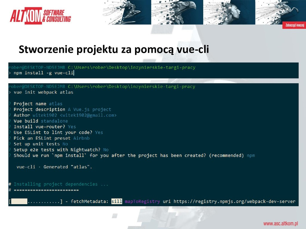 Stworzenie projektu za pomocą vue-cli