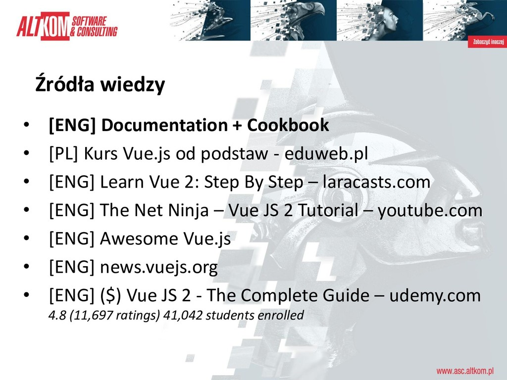 Źródła wiedzy • [ENG] Documentation + Cookbook ...