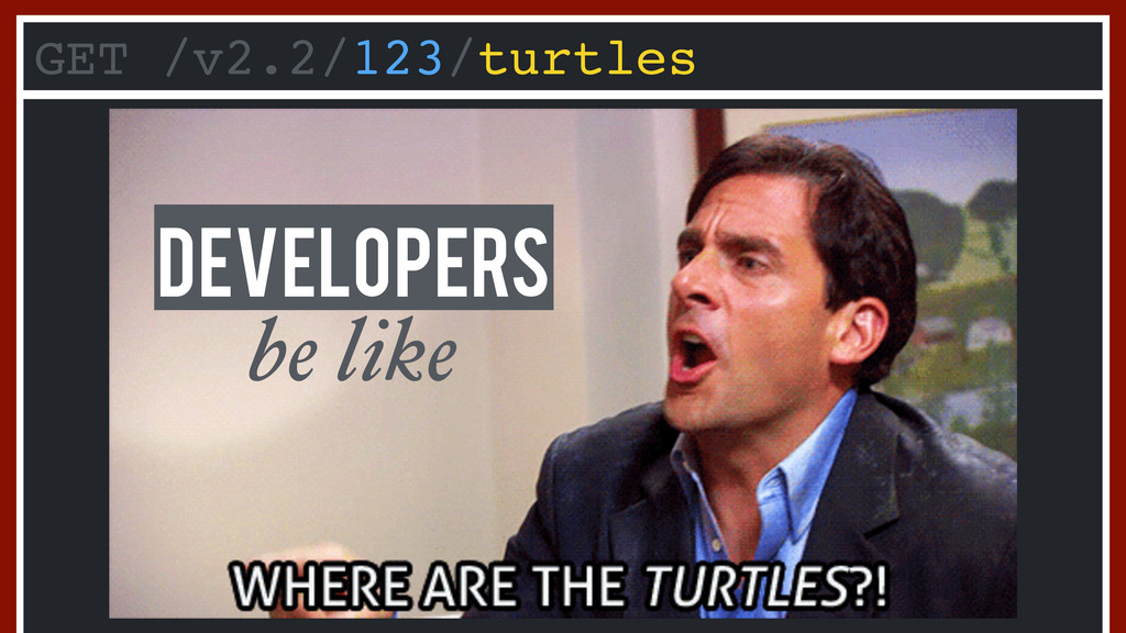 GET /v2.2/123/turtles be like Developers