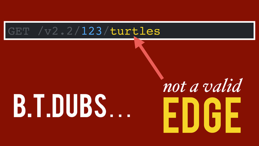 B.T.Dubs… GET /v2.2/123/turtles not a valid Edge