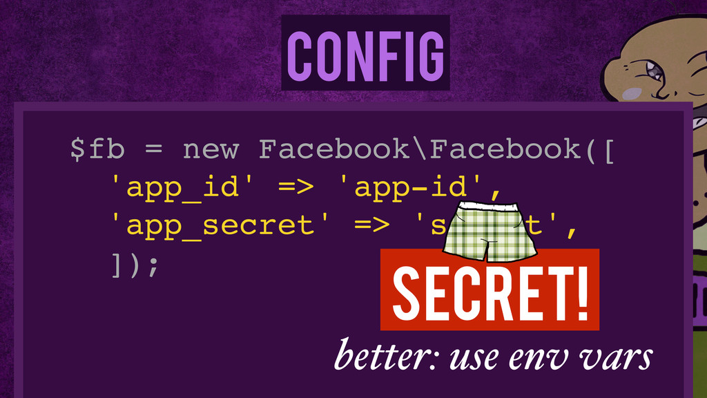 Config $fb = new Facebook\Facebook([! 'app_id' ...