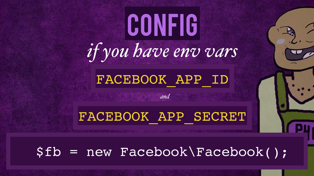 Config $fb = new Facebook\Facebook(); if you ha...