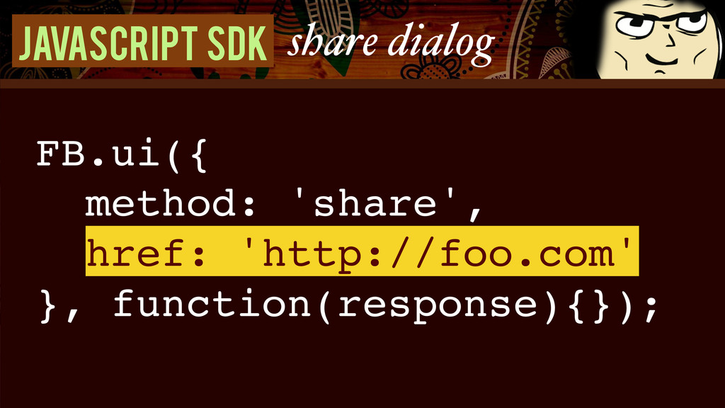 Javascript SDK share dialog FB.ui({! method: 's...