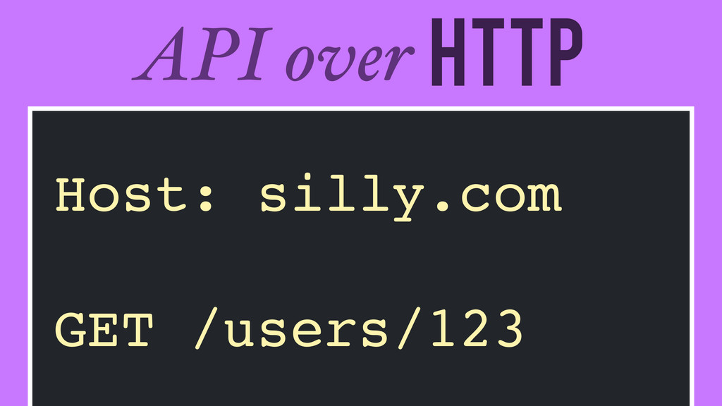 HTTP API over Host: silly.com! ! GET /users/123