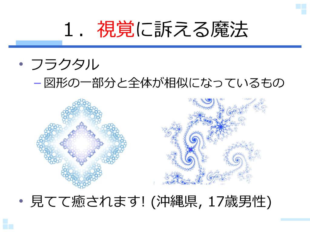 1.視覚に訴える魔法 • フラクタル – 図形の一部分と全体が相似になっているもの • 見てて...
