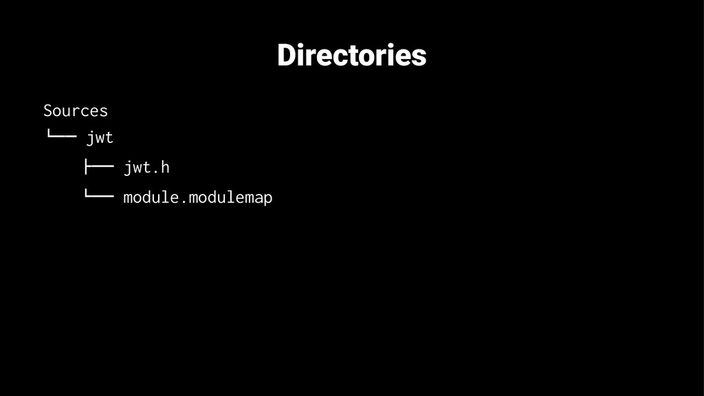 "Directories Sources !"""" jwt #"""" jwt.h !"""" modul..."