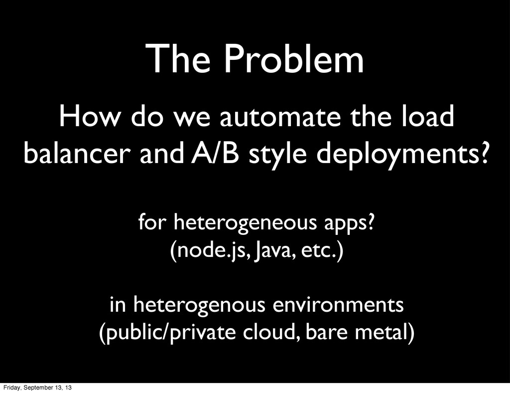The Problem How do we automate the load balance...