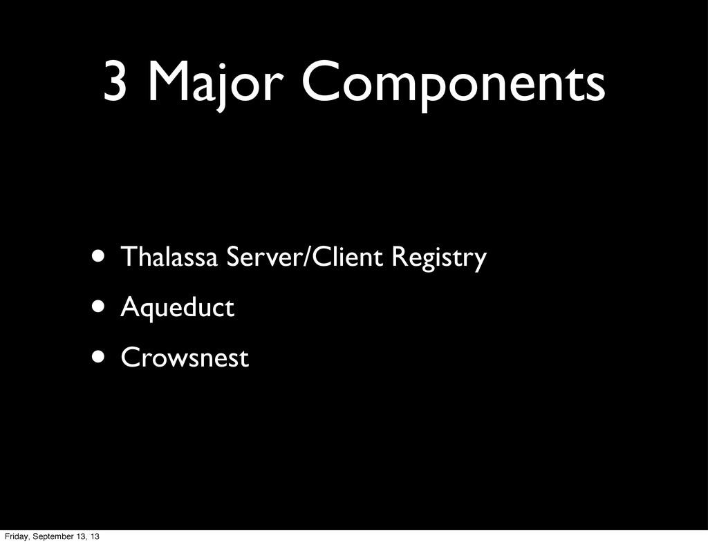 3 Major Components • Thalassa Server/Client Reg...
