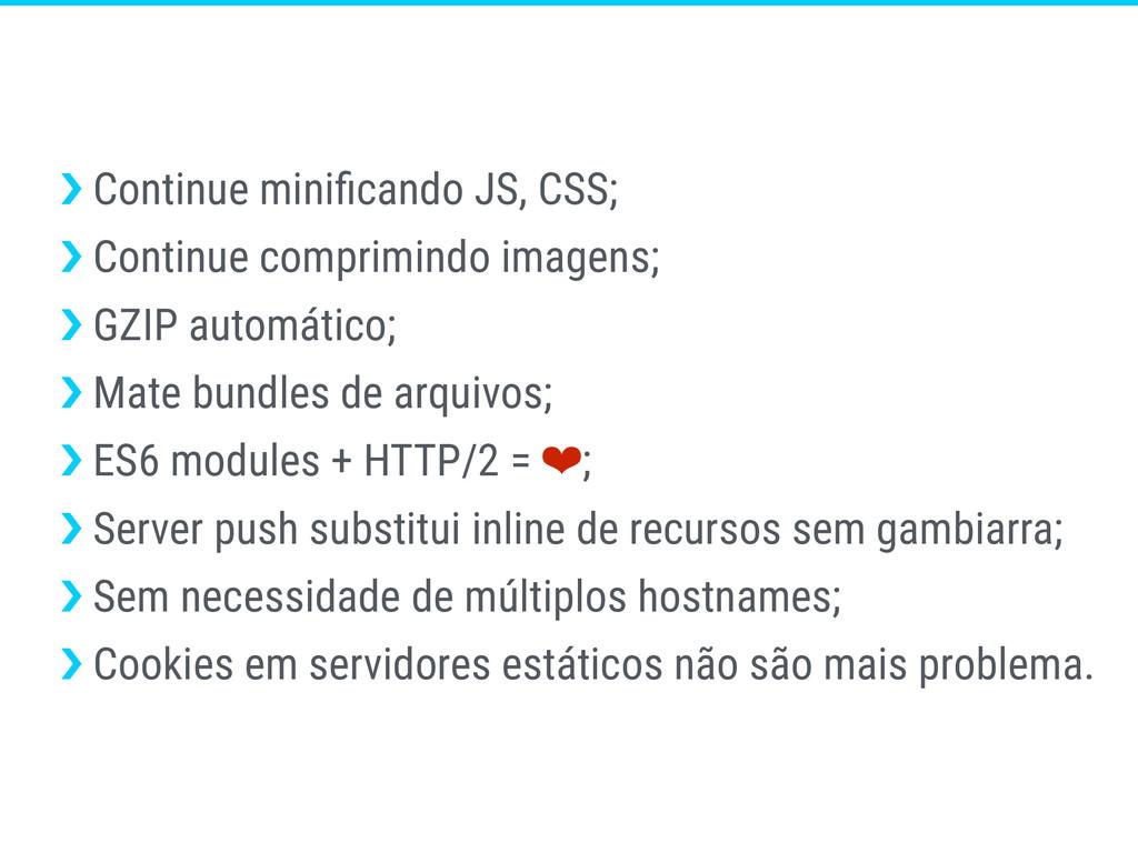›❯ Continue minificando JS, CSS; ›❯ Continue com...