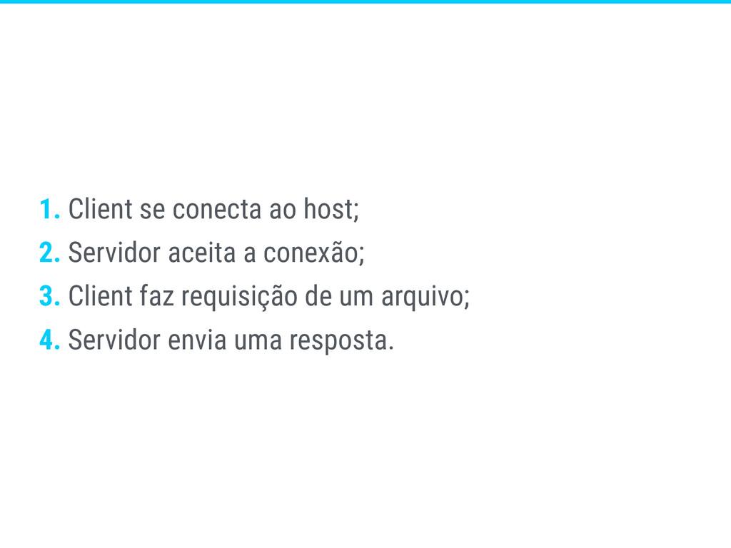 1. Client se conecta ao host; 2. Servidor aceit...