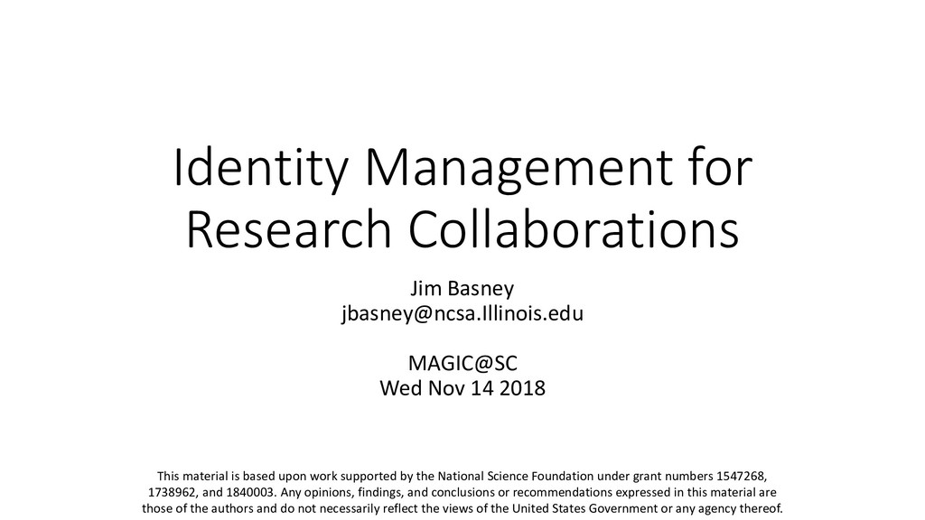 Identity Management for Research Collaborations...