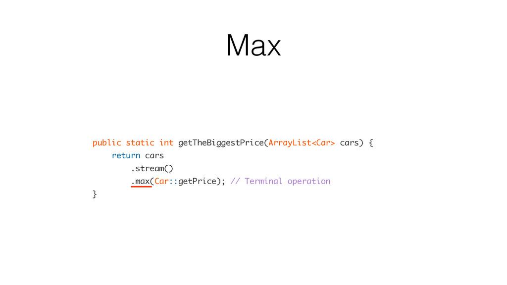 Max public static int getTheBiggestPrice(ArrayL...
