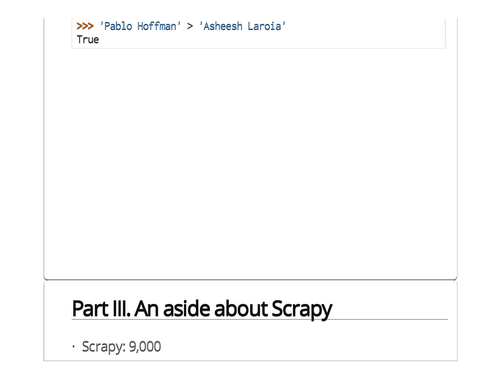 Part III. An aside about Scrapy >>> 'Pablo Hoff...