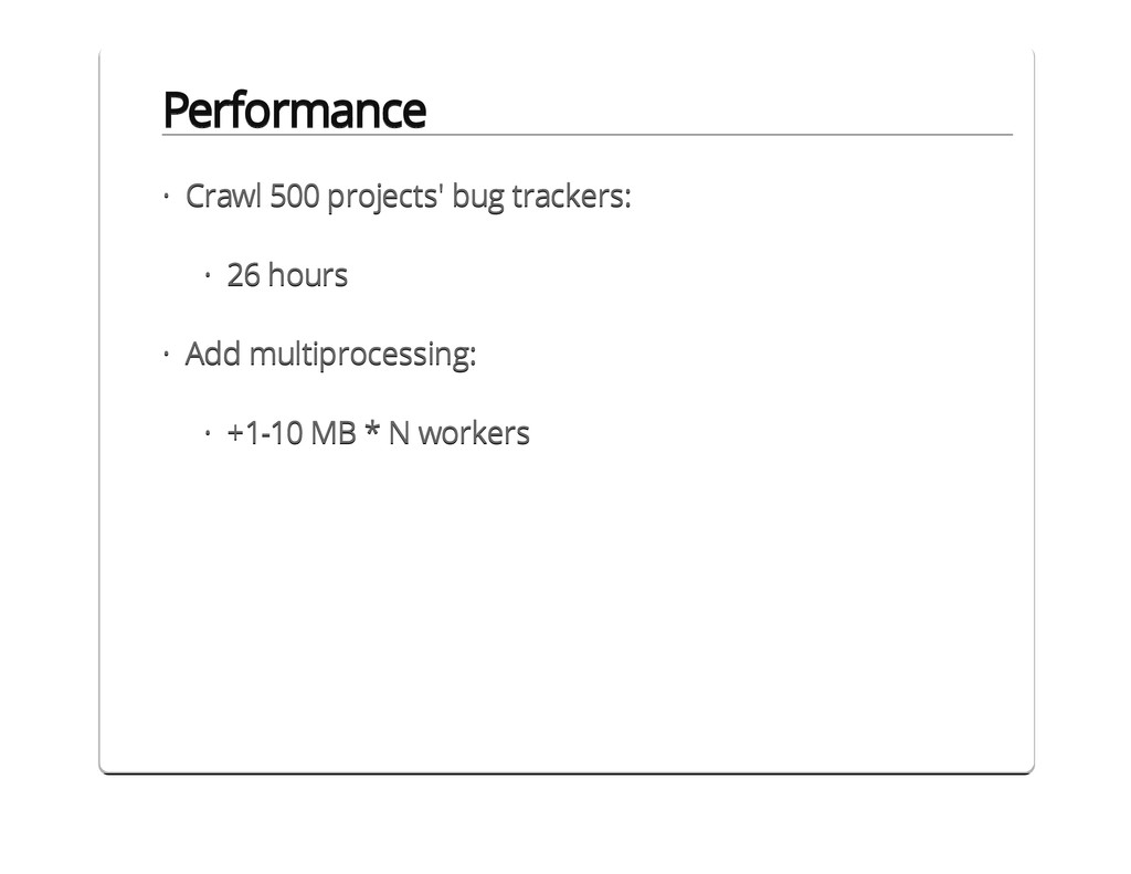 Performance Crawl 500 projects' bug trackers: 2...