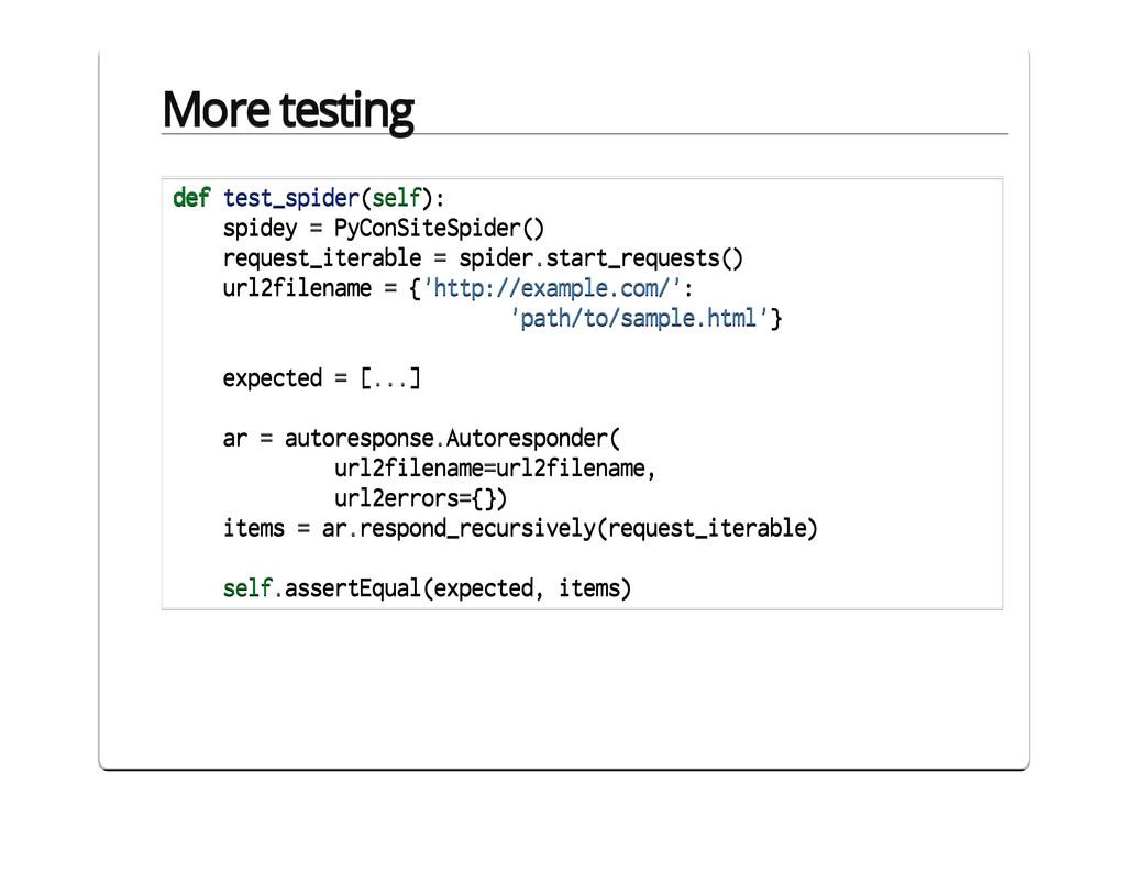 Part V. Testing class PyConSiteSpider(BaseSpide...