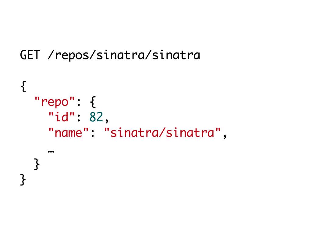 """GET /repos/sinatra/sinatra { """"repo"""": { """"id"""": 82..."""