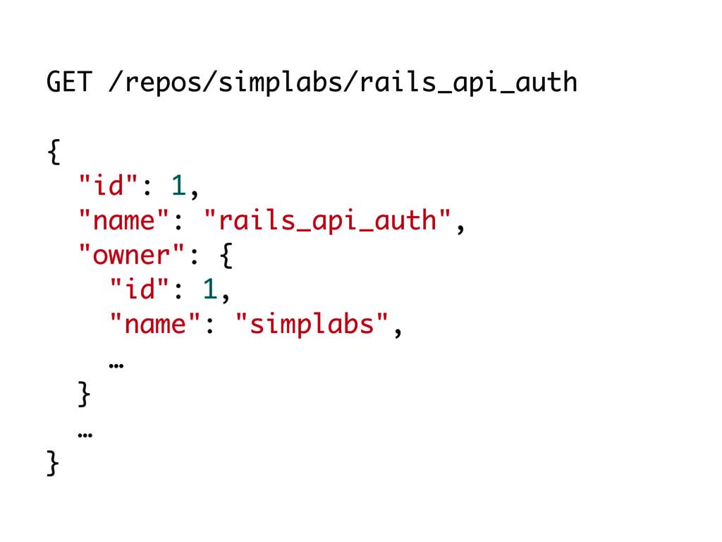 """GET /repos/simplabs/rails_api_auth { """"id"""": 1, ..."""