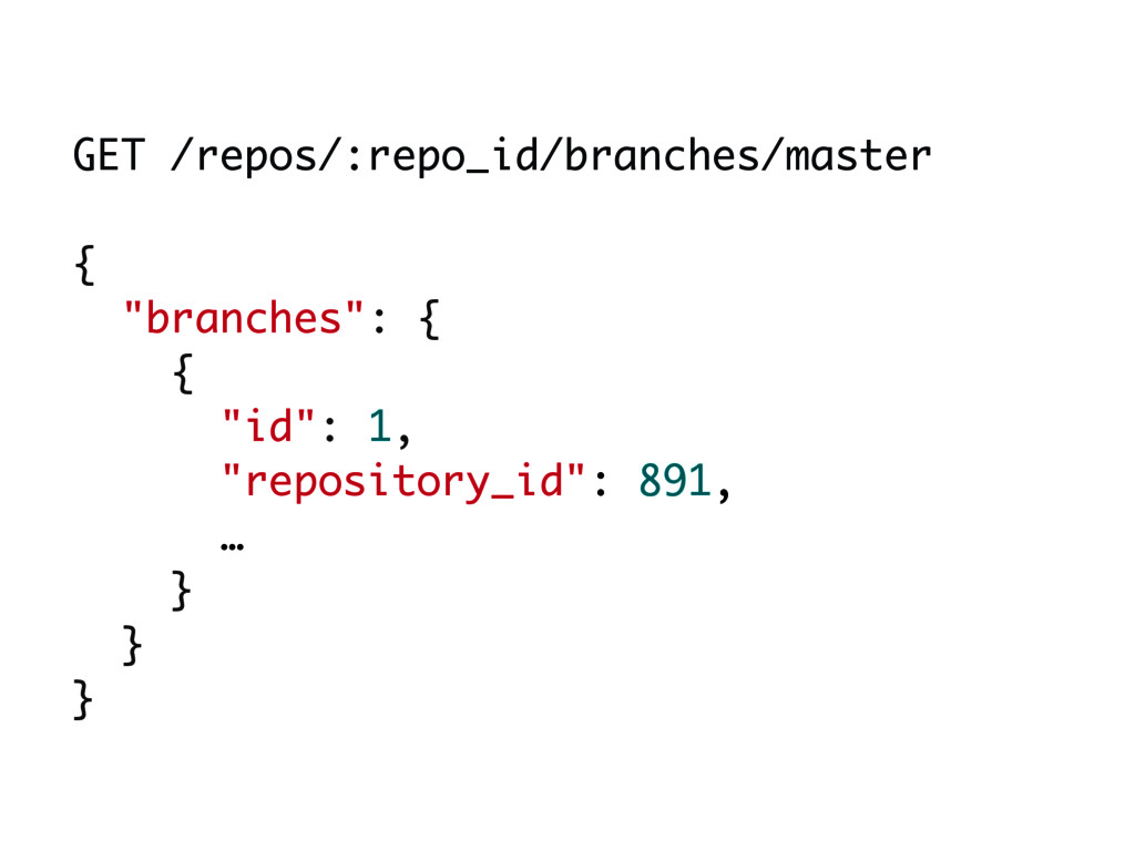 """GET /repos/:repo_id/branches/master { """"branches..."""