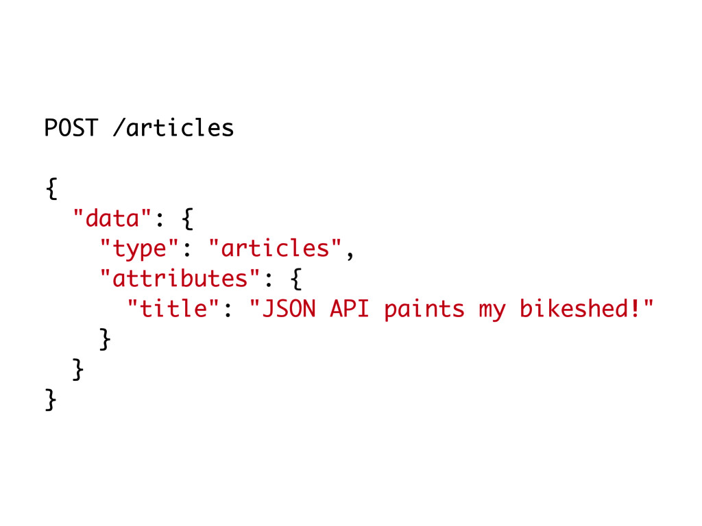 """POST /articles { """"data"""": { """"type"""": """"articles"""", ..."""
