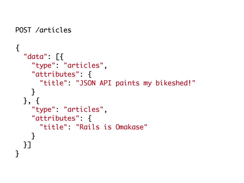 """POST /articles { """"data"""": [{ """"type"""": """"articles"""",..."""