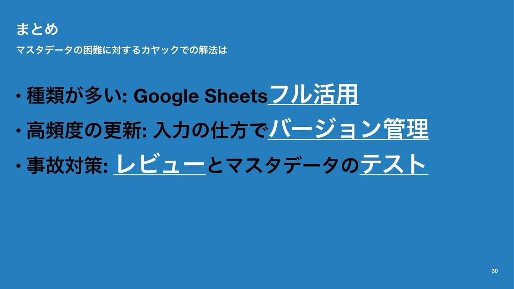 ·ͱΊ Ϛελσʔλͷࠔʹର͢ΔΧϠοΫͰͷղ๏ • छྨ͕ଟ͍: Google Shee...