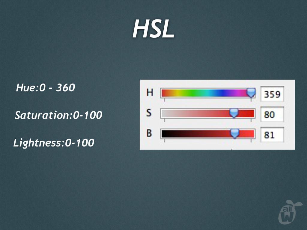 Hue:0 - 360 Saturation:0-100 Lightness:0-100 HSL