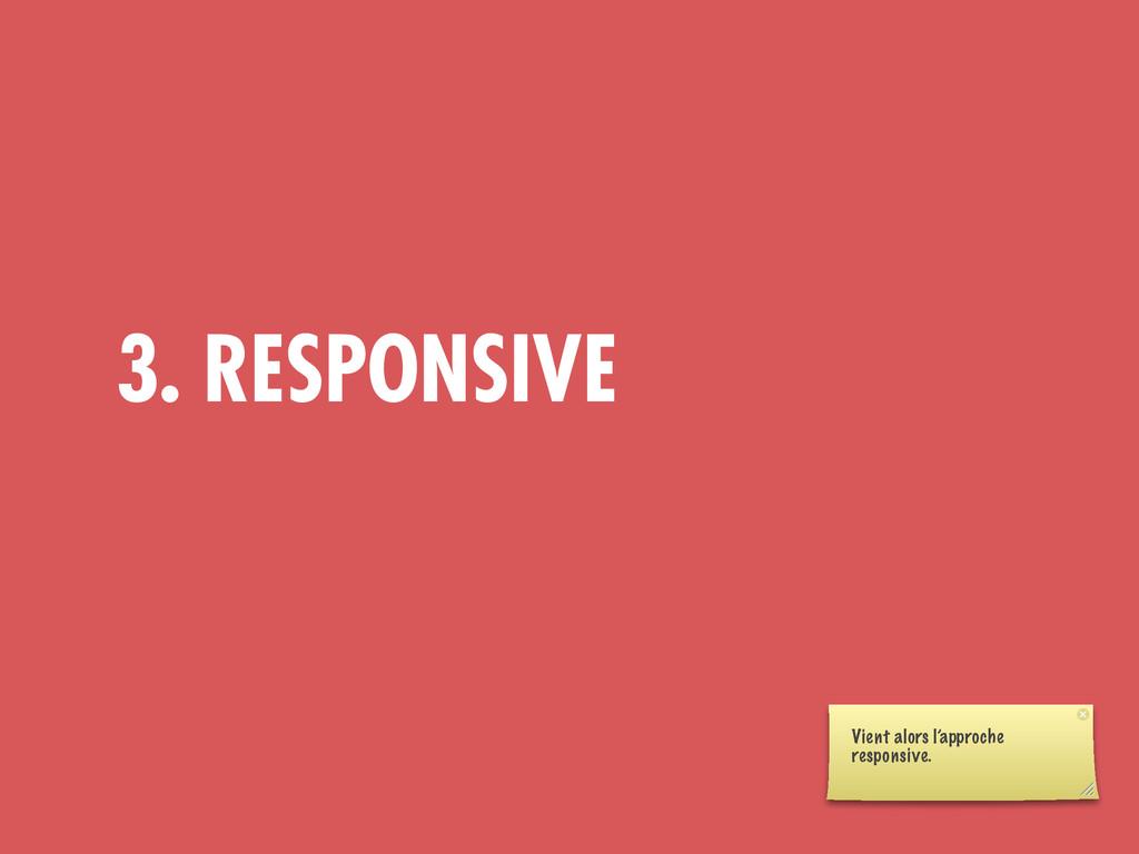 3. RESPONSIVE Vient alors l'approche responsive.