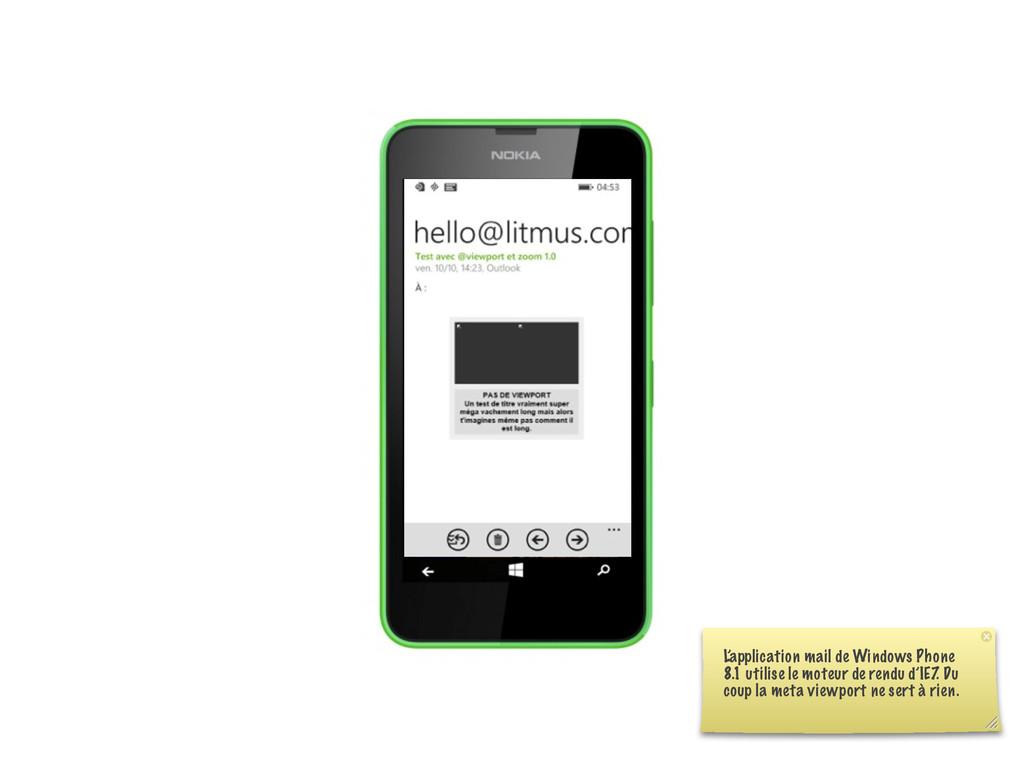 L'application mail de Windows Phone 8.1 utilise...