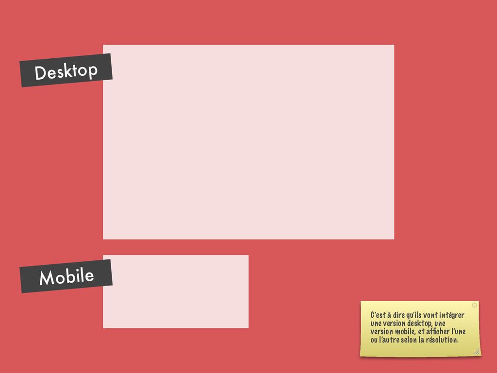 Desktop Mobile C'est à dire qu'ils vont intégre...
