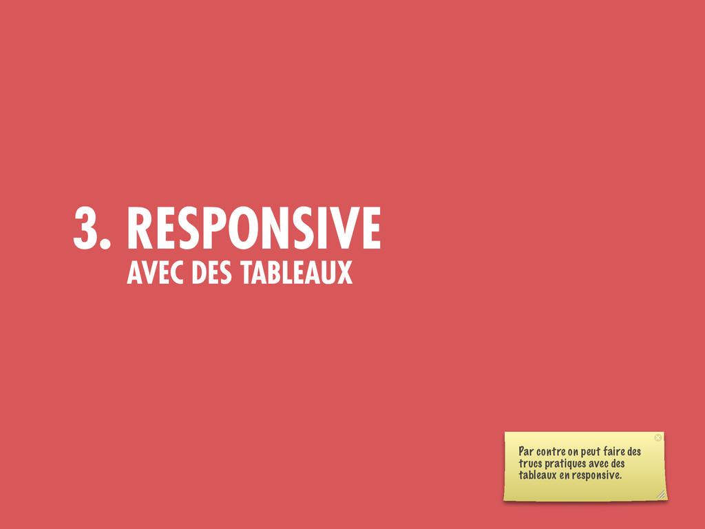 3. RESPONSIVE AVEC DES TABLEAUX Par contre on p...