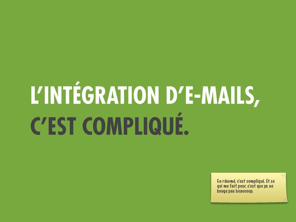L'INTÉGRATION D'E-MAILS, C'EST COMPLIQUÉ. En ré...