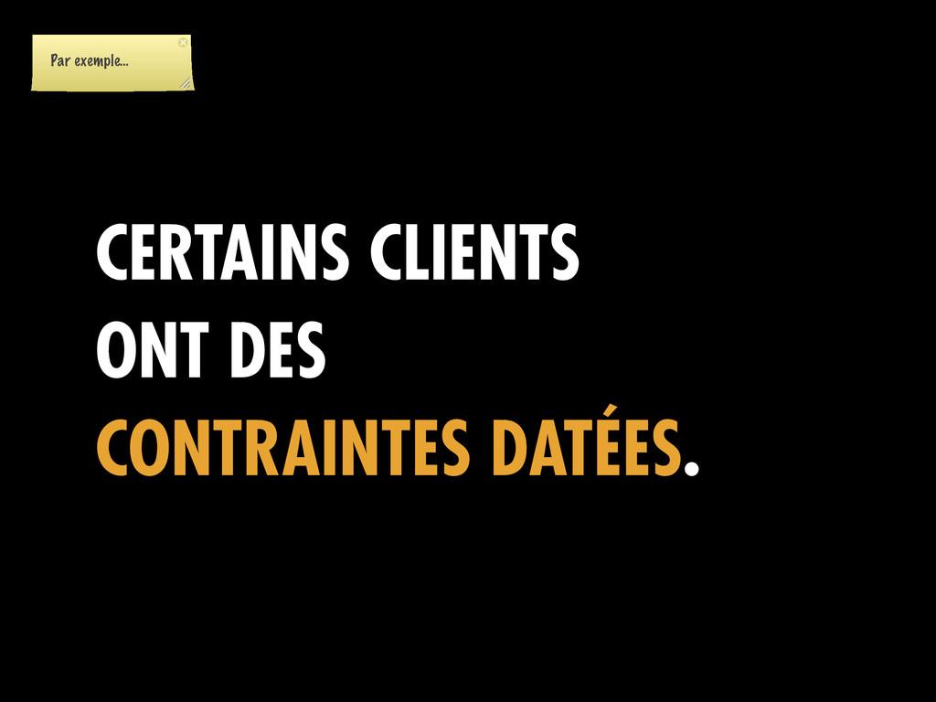 CERTAINS CLIENTS ONT DES CONTRAINTES DATÉES. Pa...
