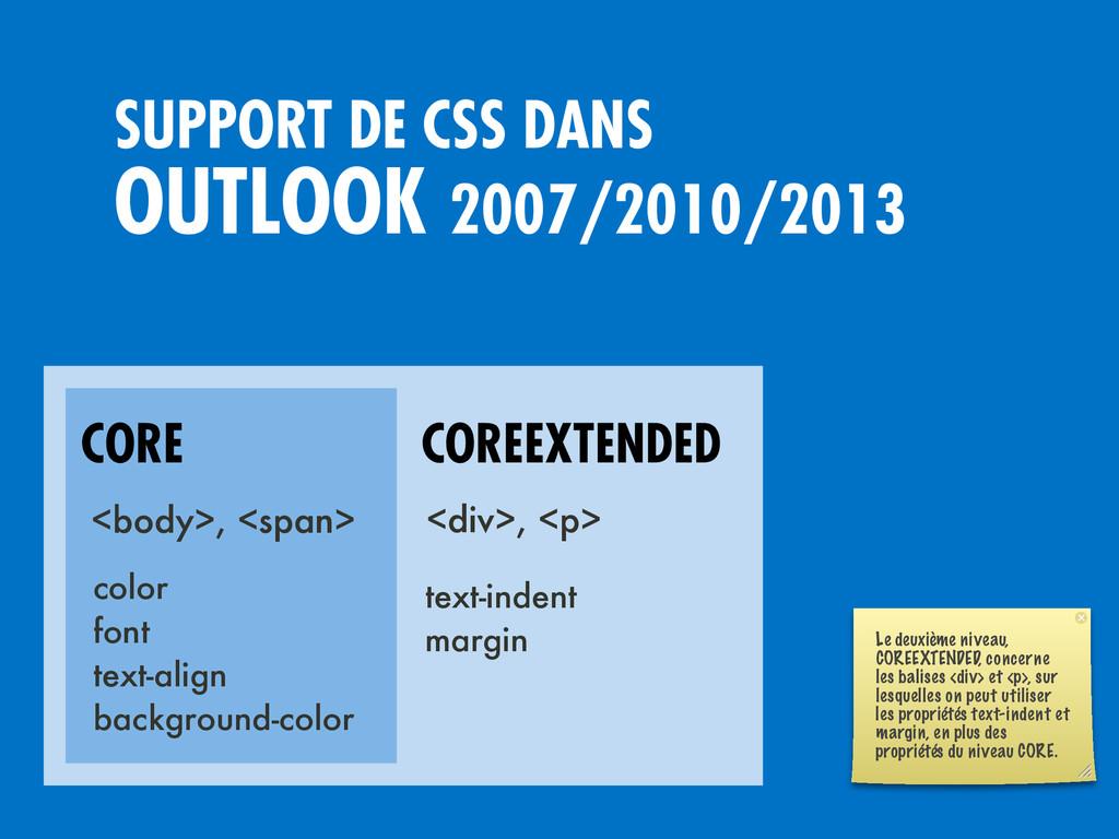 OUTLOOK 2007/2010/2013 SUPPORT DE CSS DANS CORE...