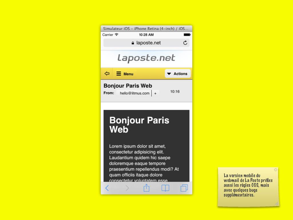 La version mobile du webmail de La Poste préfixe...