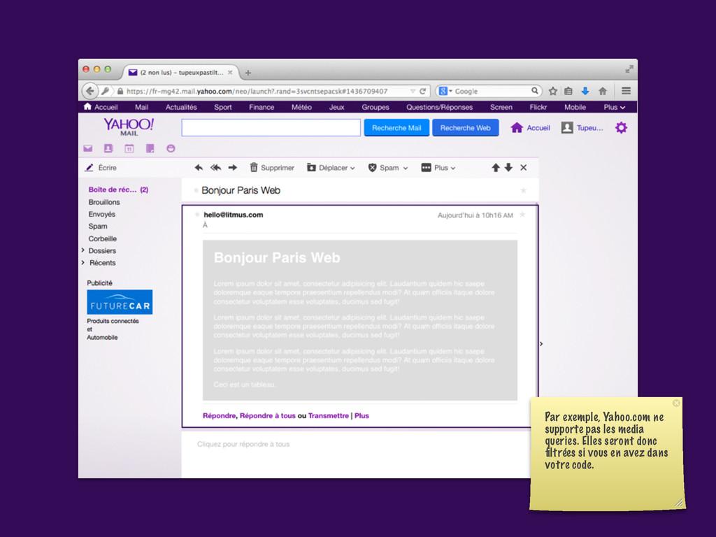 Par exemple, Yahoo.com ne supporte pas les medi...