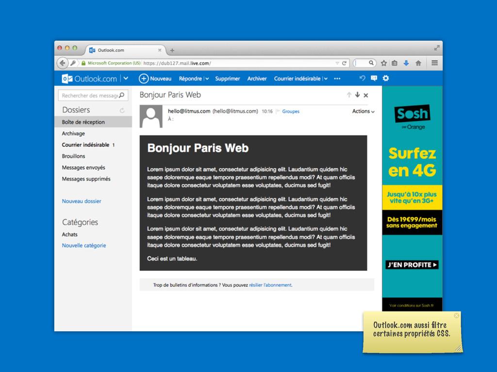 Outlook.com aussi filtre certaines propriétés CS...