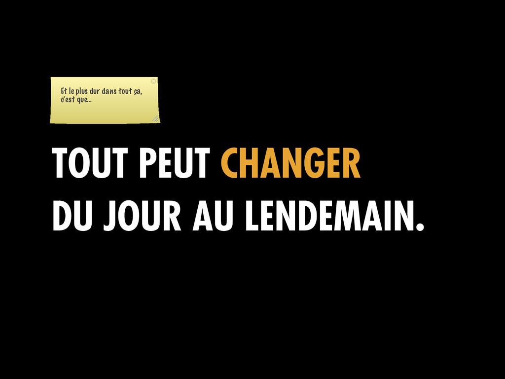 TOUT PEUT CHANGER DU JOUR AU LENDEMAIN. Et le p...