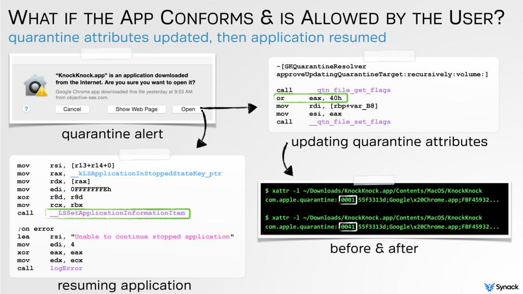 quarantine attributes updated, then application...