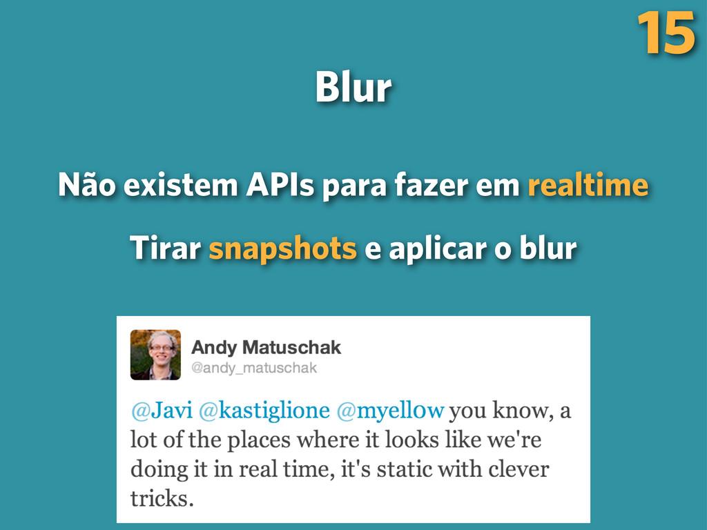 15 Blur Não existem APIs para fazer em realtime...