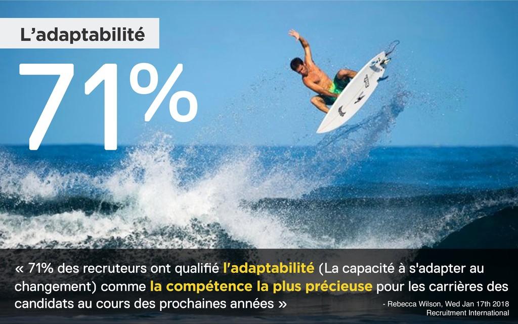 L'adaptabilité 71% « 71% des recruteurs ont qua...